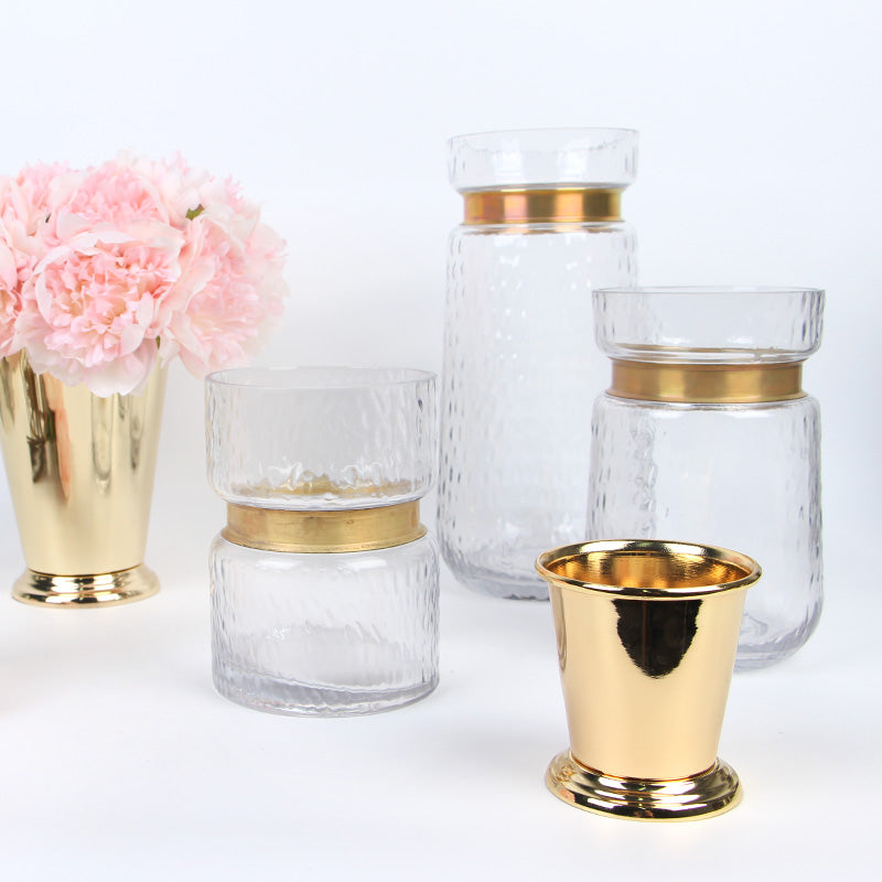 Gold Metallic Line Glass Vase