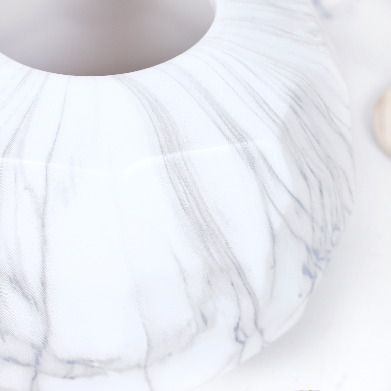 White Gray Marble Pattern Flower Vase