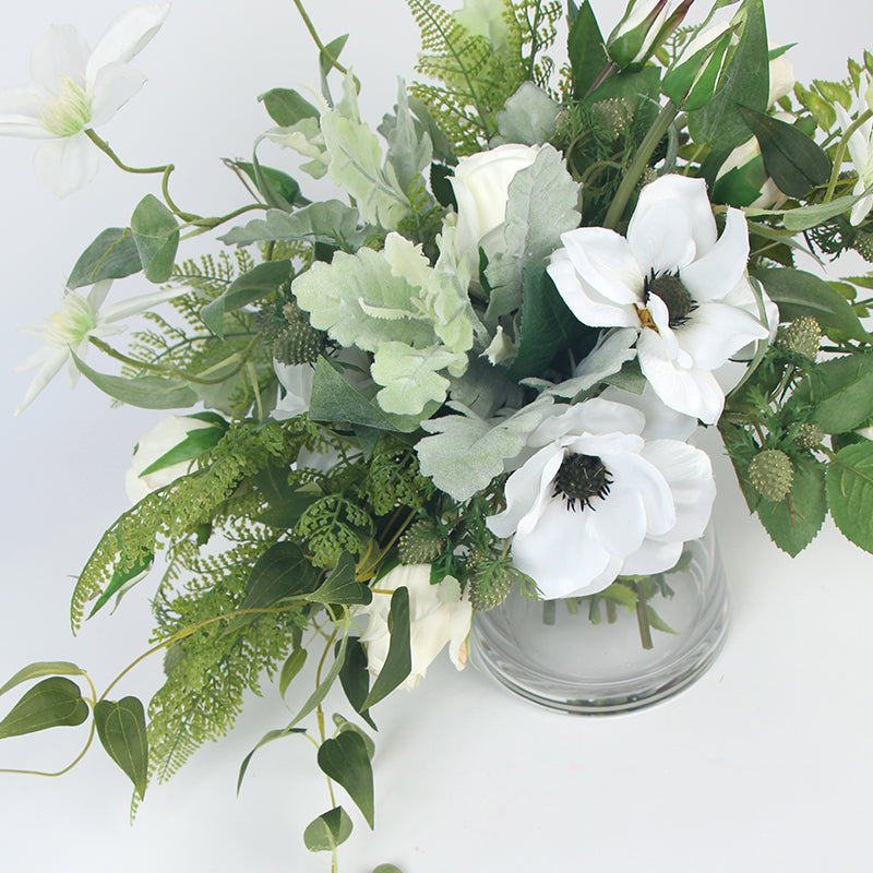 White Anemone Flower and Green Leaf Bouquet with Glass Vase