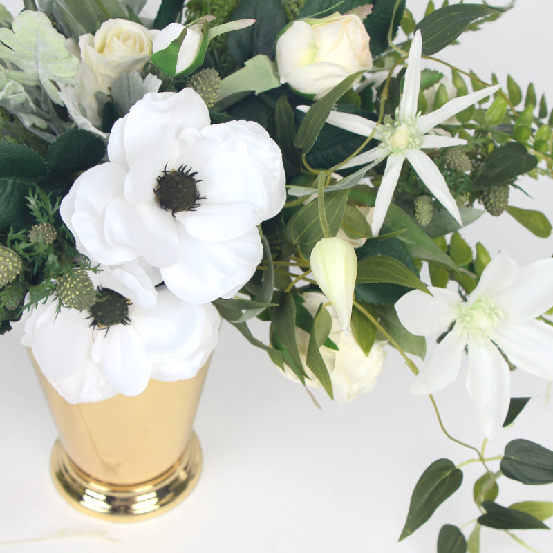 White Anemone Flower and Green Leaf Bouquet with Gold Metal Vase
