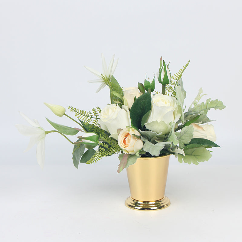 White Rose and Green Leaf Small Bouquet with Gold Metal Vase