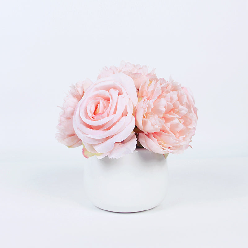 "Light Pink Peony and Rose Mixed Flower Arrangement 7"" Tall"