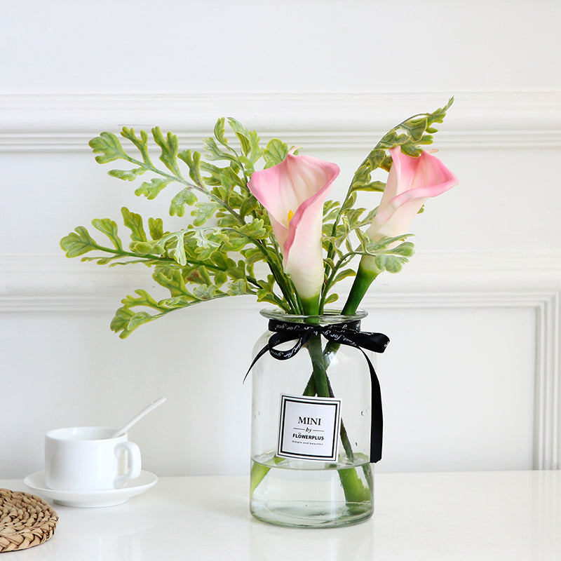 Greenery and Lily in Glass Vase