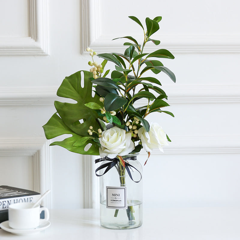 Greenery and Rose Flower in Vase