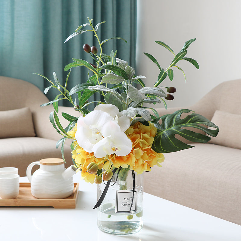 "Yellow Hydrangea White Orchid and Greenery in Vase 16"" Tall"
