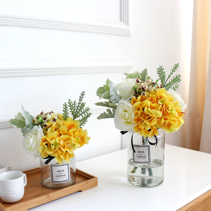 Yellow Hydrangea White Rose and Greenery in Vase