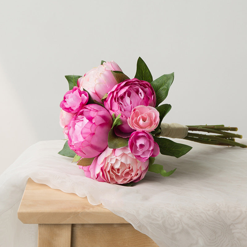 "Artificial Peony Bouquet 14"" Tall"