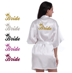 Bride Crown Bath Robe with Golden Glitter Print