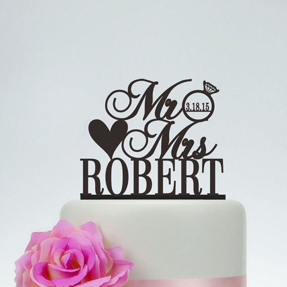 Custom Mr & Mrs Diamond Wedding Cake Topper