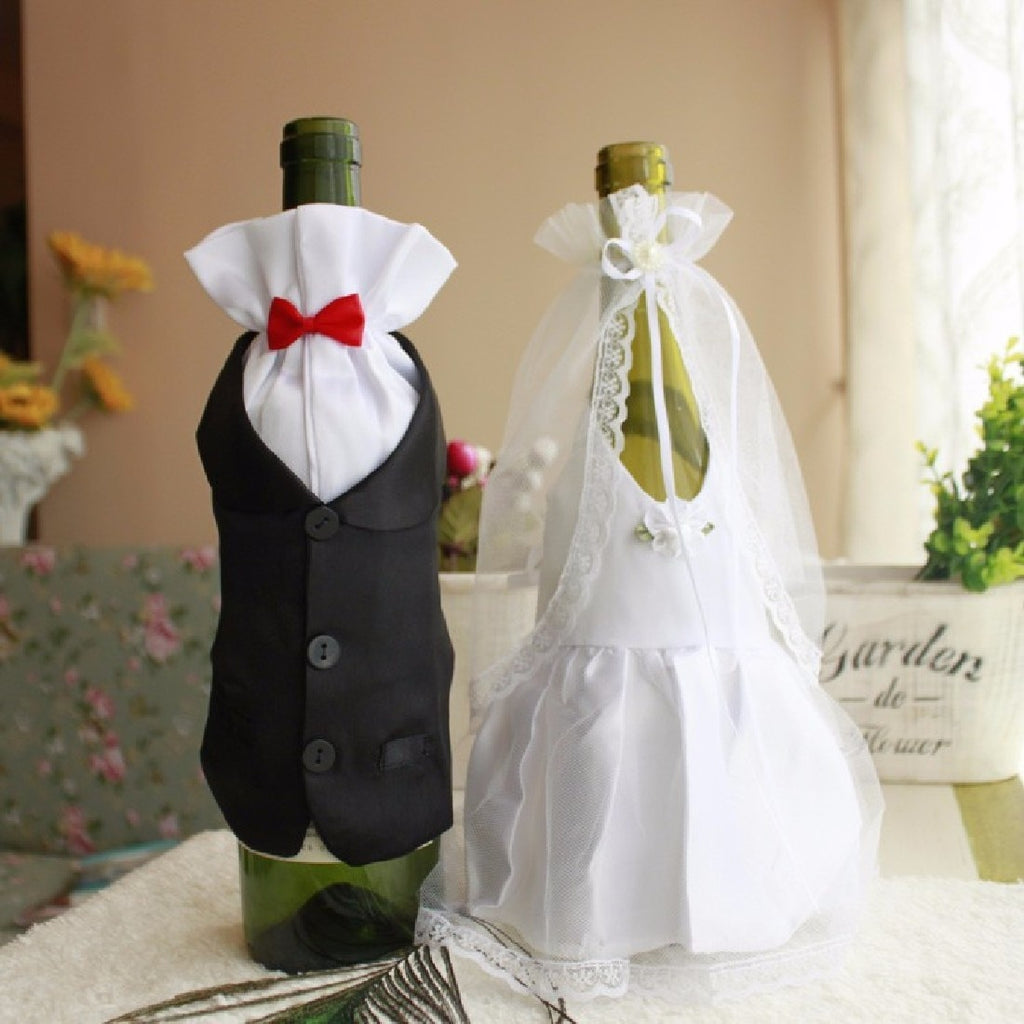 Bride & Groom Wine Bottle Decoration