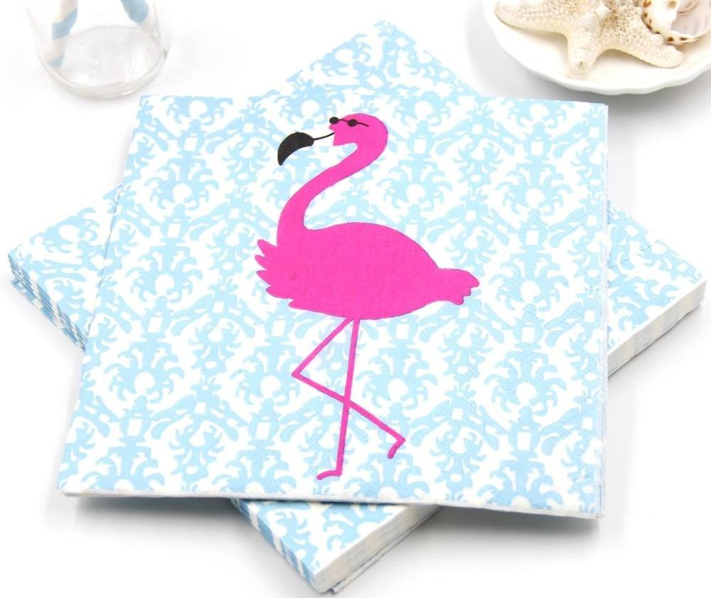 20 Pieces Flamingo Blue Napkins