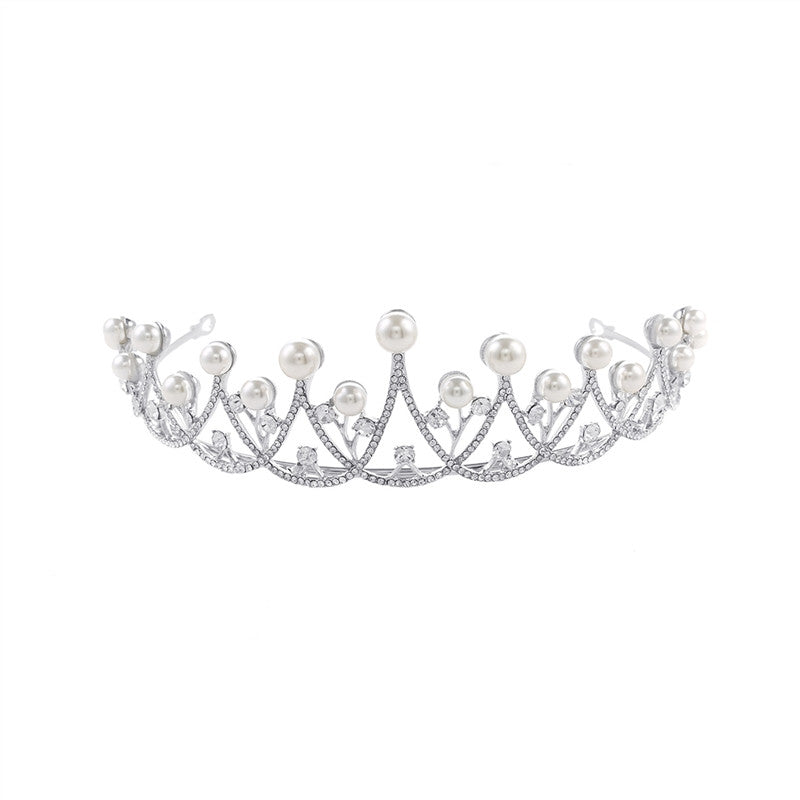 Pearly Crystal Tiara with Rhinestones