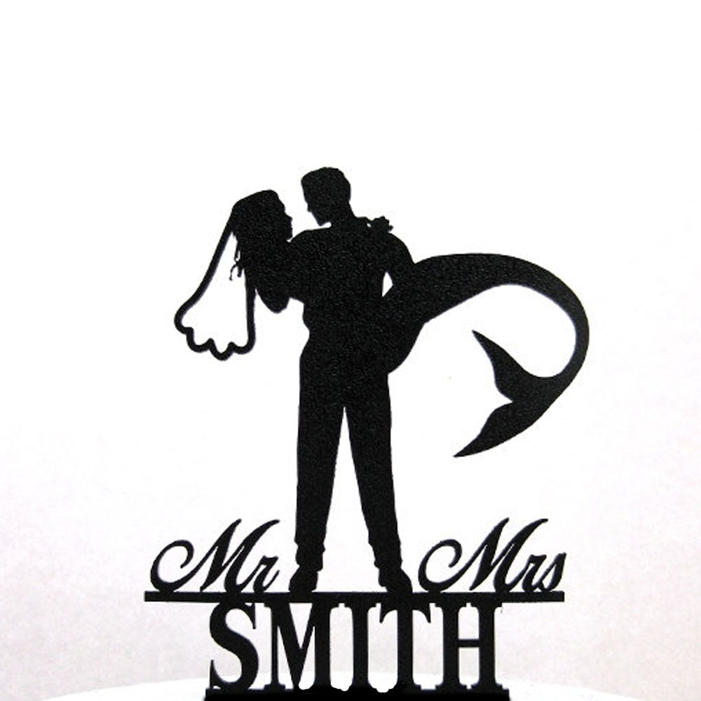 Custom Mermaid Bride & Groom Cake Topper