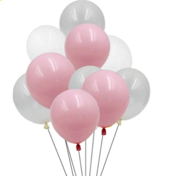 30 Pieces 10-Inch  White & Pink Balloons