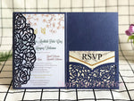 50 Pieces - Laser Cut Wedding Invitations Cards