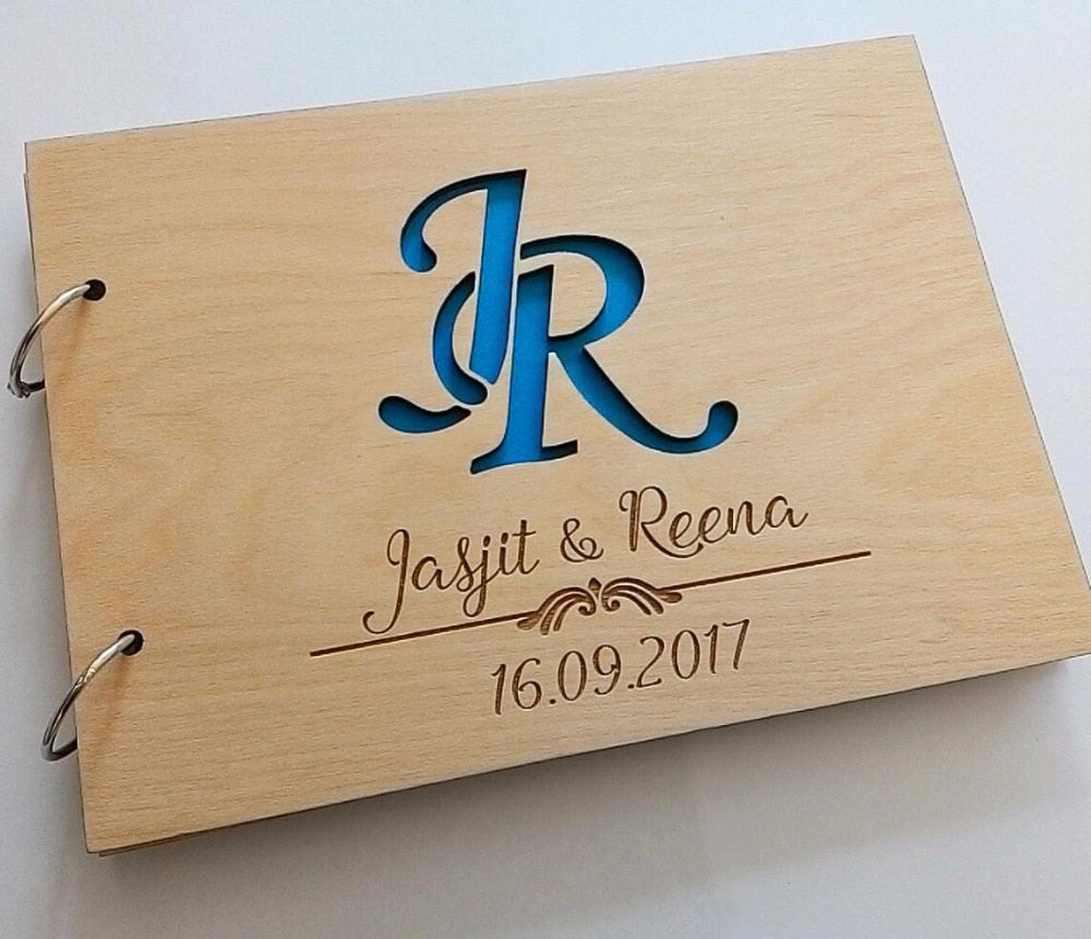 Customs Wedding Guest Book with Initials