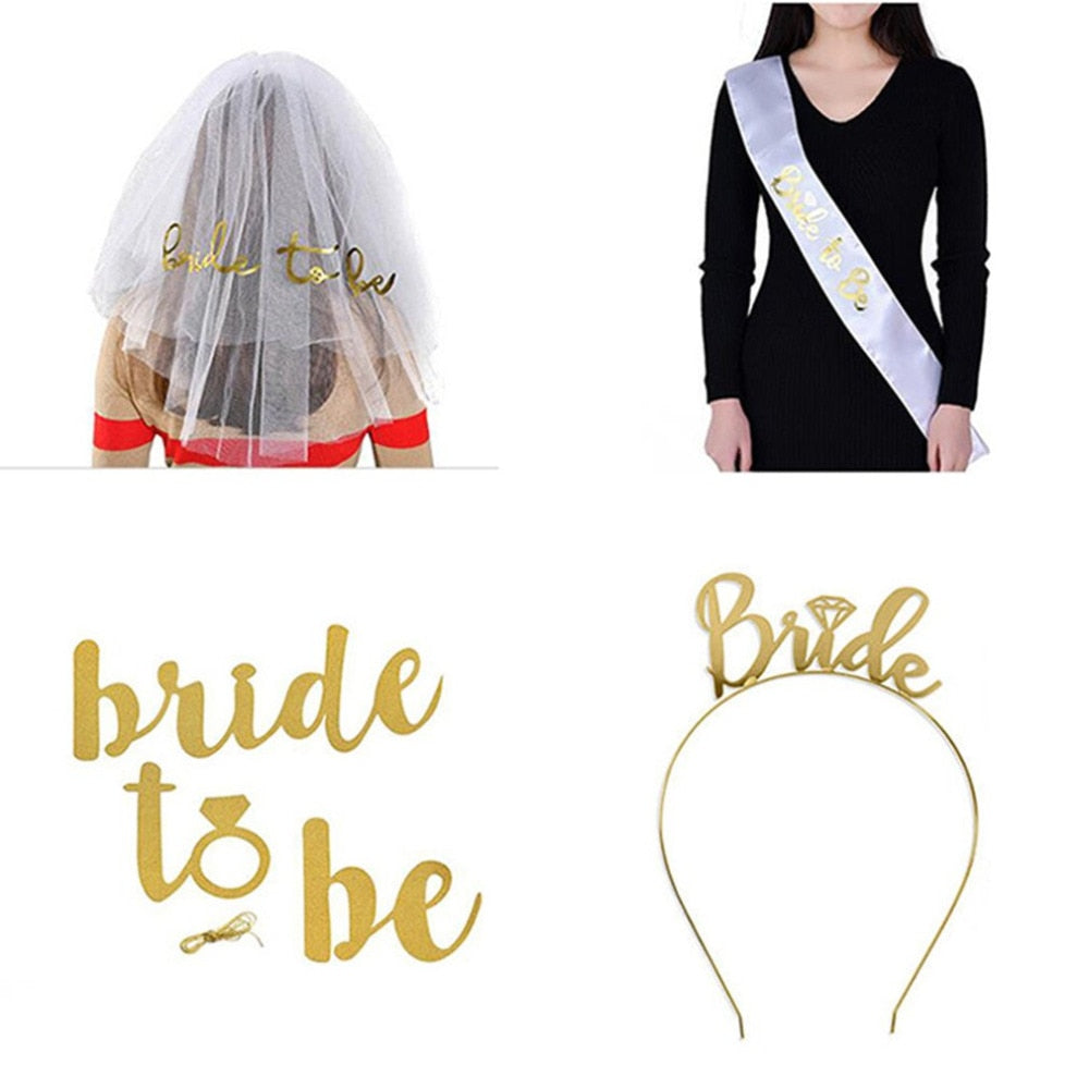 5 Piece Set Wedding Party Veil & Sash