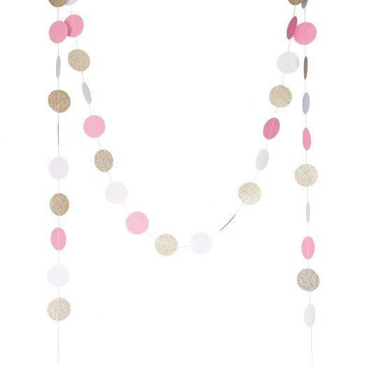 Gold, Pink and White Champagne Banner