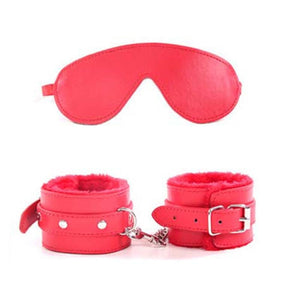 Fluffy Leather Handcuffs & Eye Mask