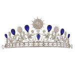 Sun Flower Big Blue Crystal Tiara