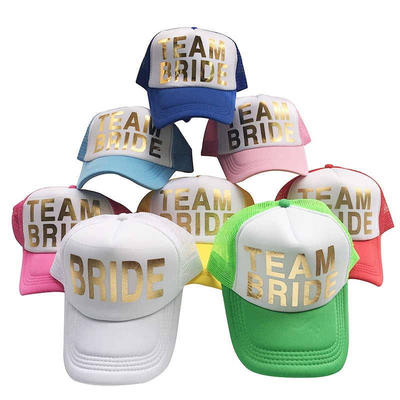 Team Bride - Gold Printed Baseball Caps