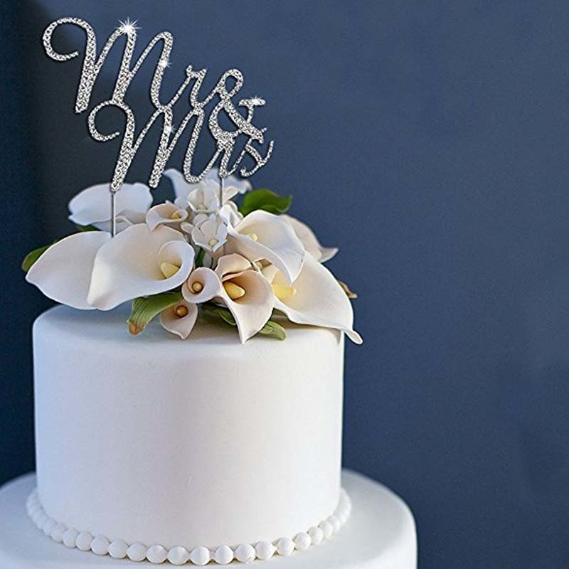 Mr & Mrs Rhinestone Cake Topper