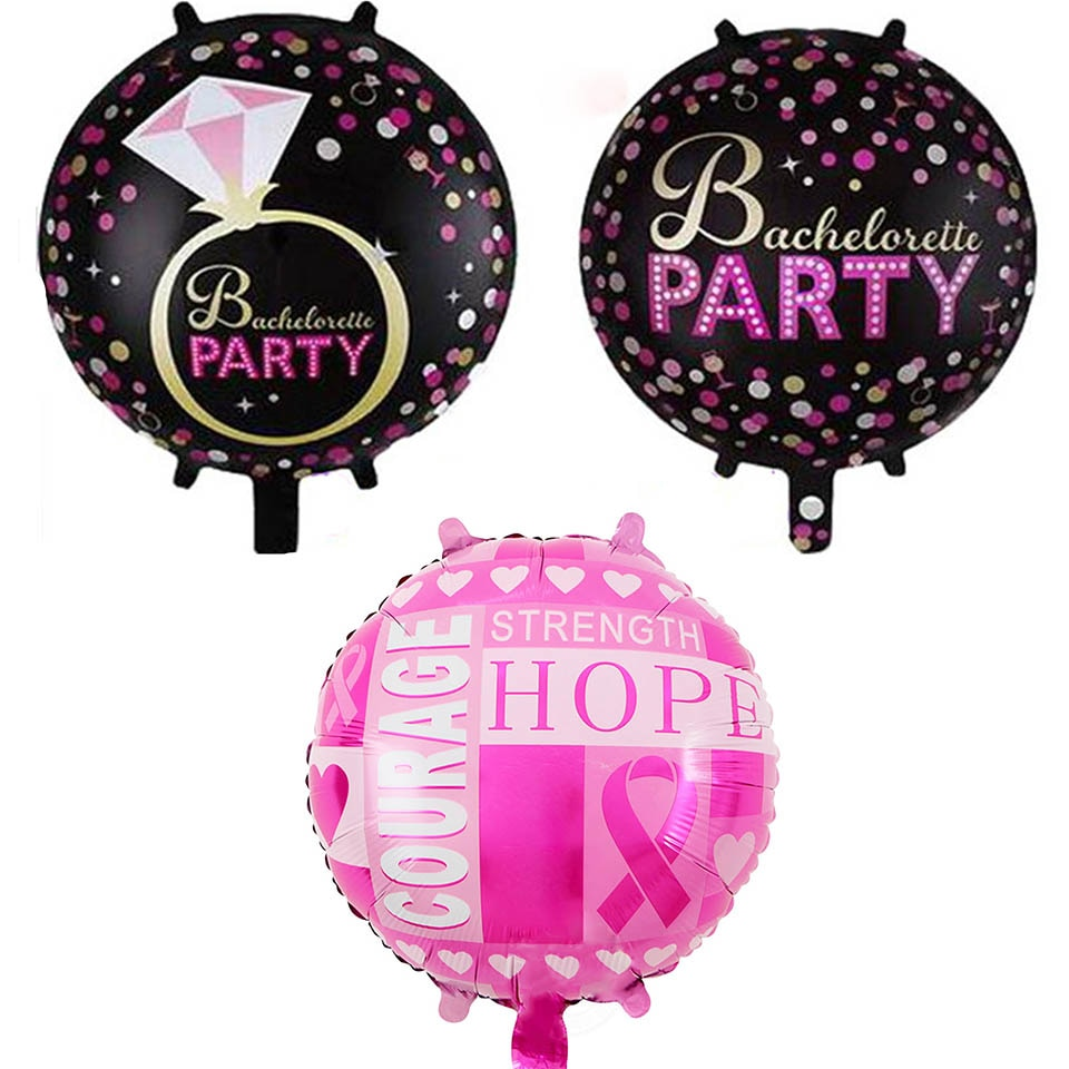 10 Piece - Diamond Ring + Pink Courage Foil Balloons