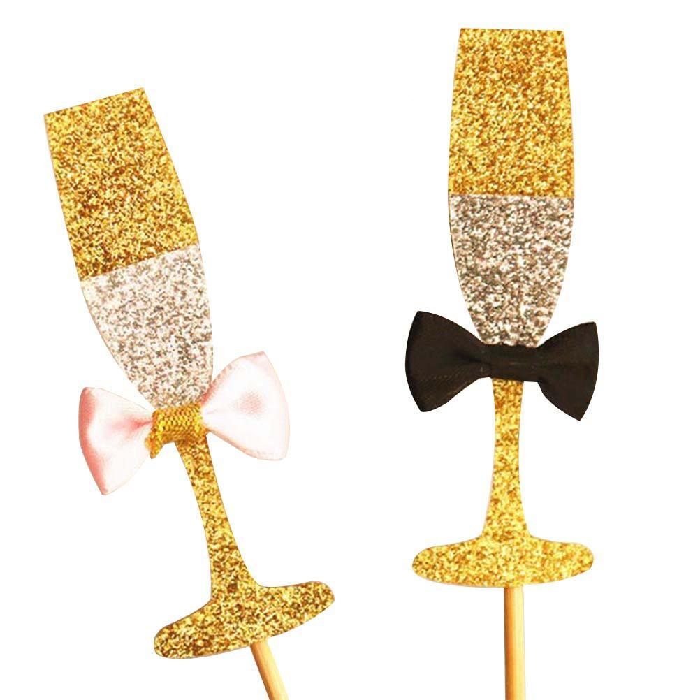 Twinkling Golden Champagne Toppers