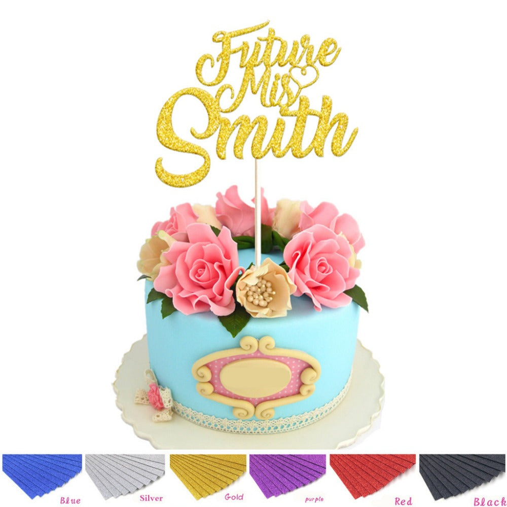 Colorful Personalized Wedding Cake Topper