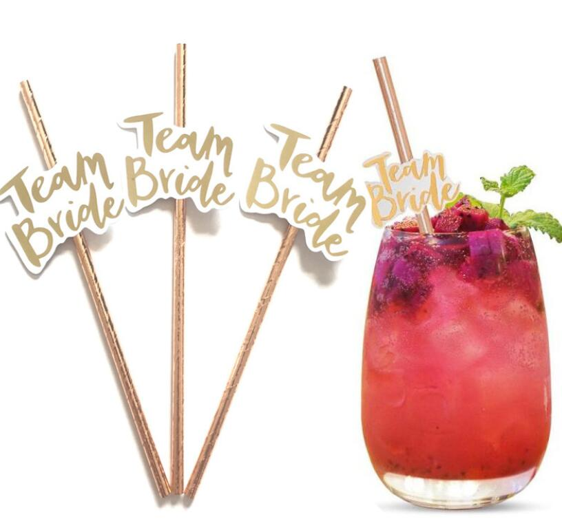 10 Pieces Team Bride Drinking Straws