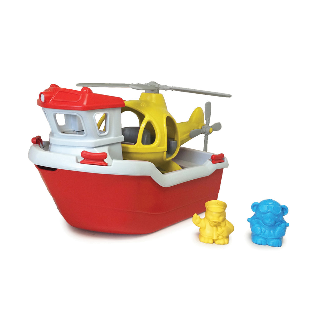 Image of Green Toys Rescue Boat with Helicopter
