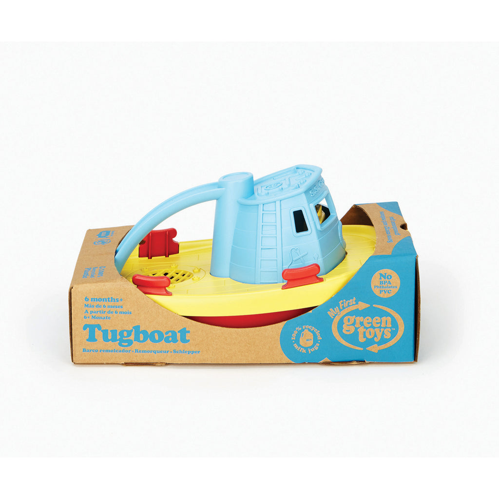 Image of Green Toys Tug Boat - Blue Handle