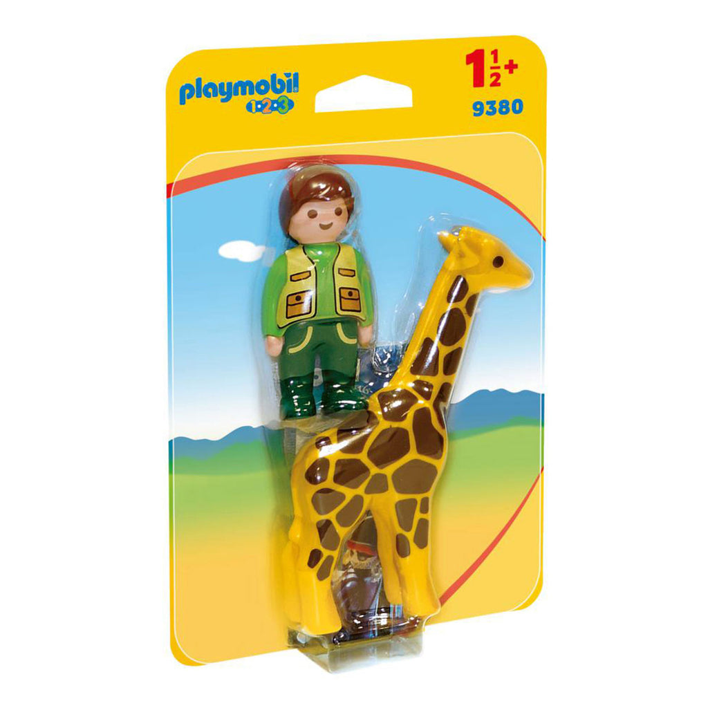 Image of Playmobil Zookeeper with Giraffe 1-2-3 9380