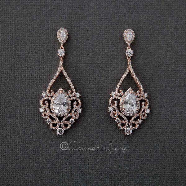 Rose Gold And Gold Bridal Earrings Bracelets And Necklaces Cassandra Lynne