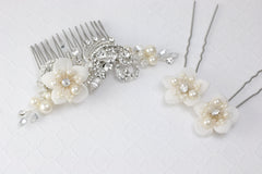 Custom Bridal Hair Comb and Pins
