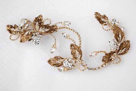 Gold leaf hair vine clip