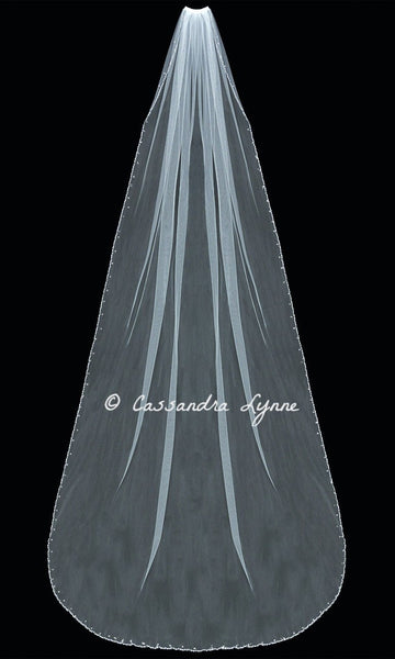 Royal 120 Inch Bridal Veil with Beaded Vine Trim