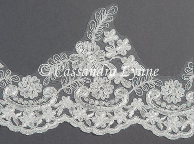 Bridal Veil of Whimsical Floral Lace