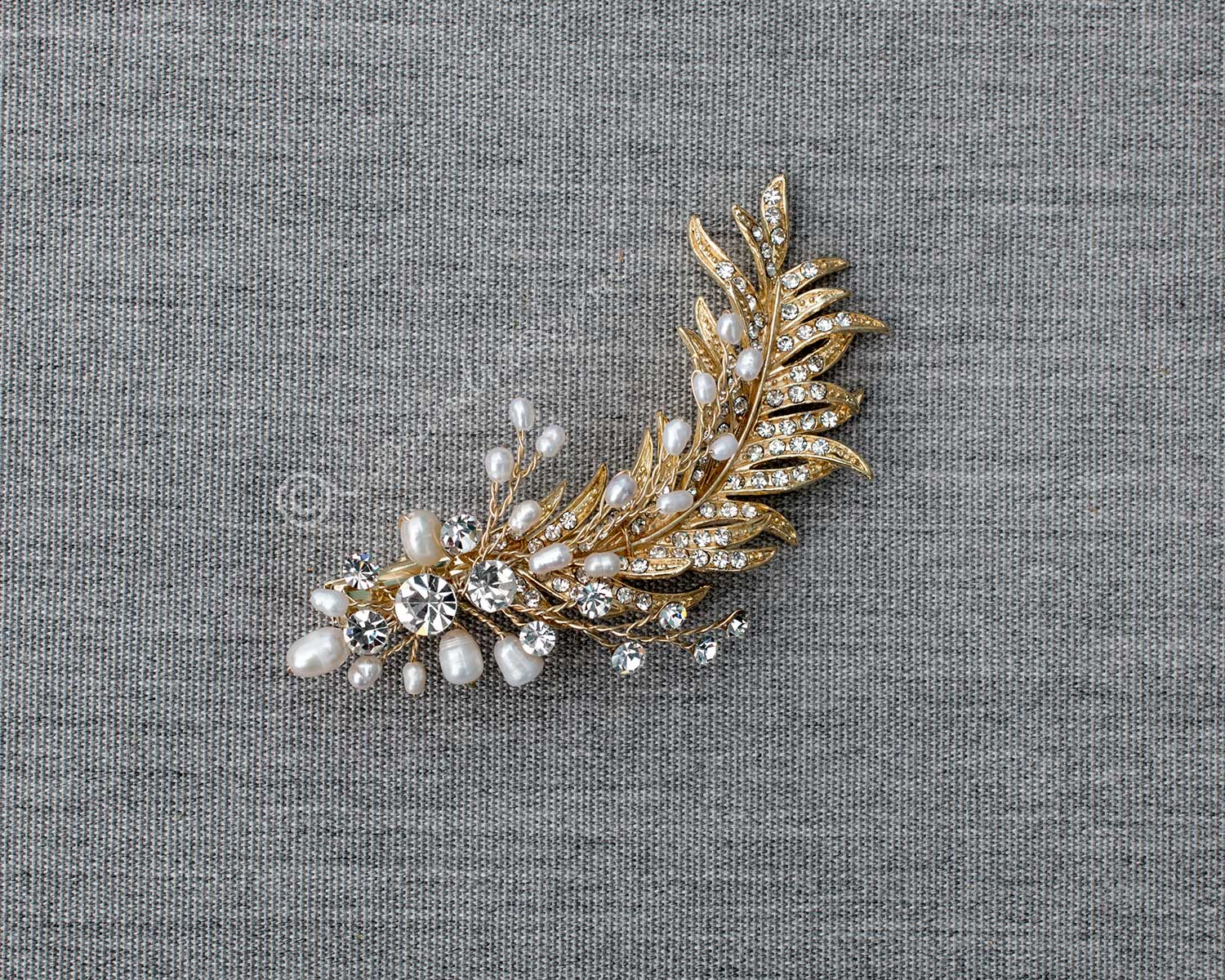 Gold Feather Hair Clip with Pearls Roaring 20's