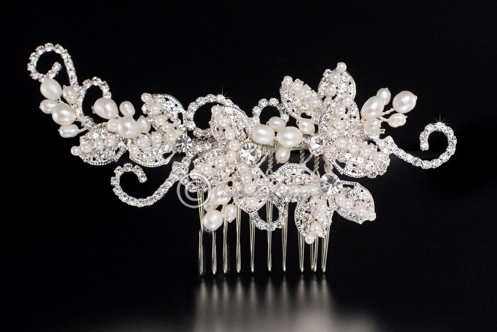 Vintage Inspired Pearl and Rhinestone Bridal Hair Comb