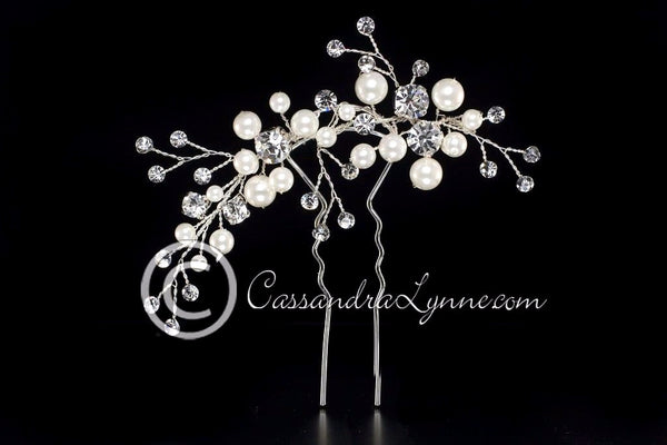 Bridal Hair Pin of Ivory Pearls and Rhinestone Spray
