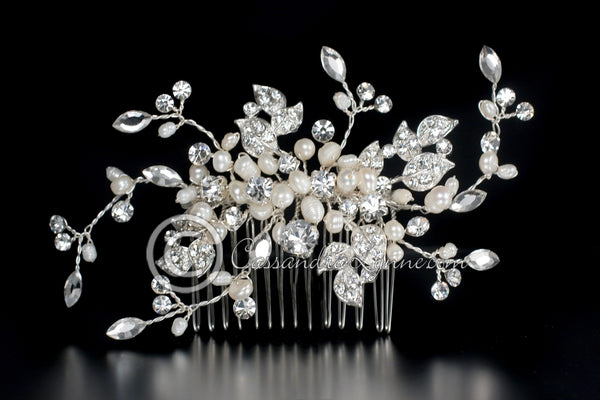 Delicate crystal leaves and ivory pearls wedding comb.