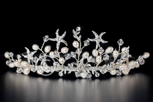 Beach Tiara of Crystal Starfish and Freshwater Pearls