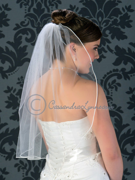 Elbow length soutache edge wedding veil
