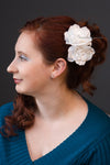 Wedding Hair Flower Comb of Open Roses