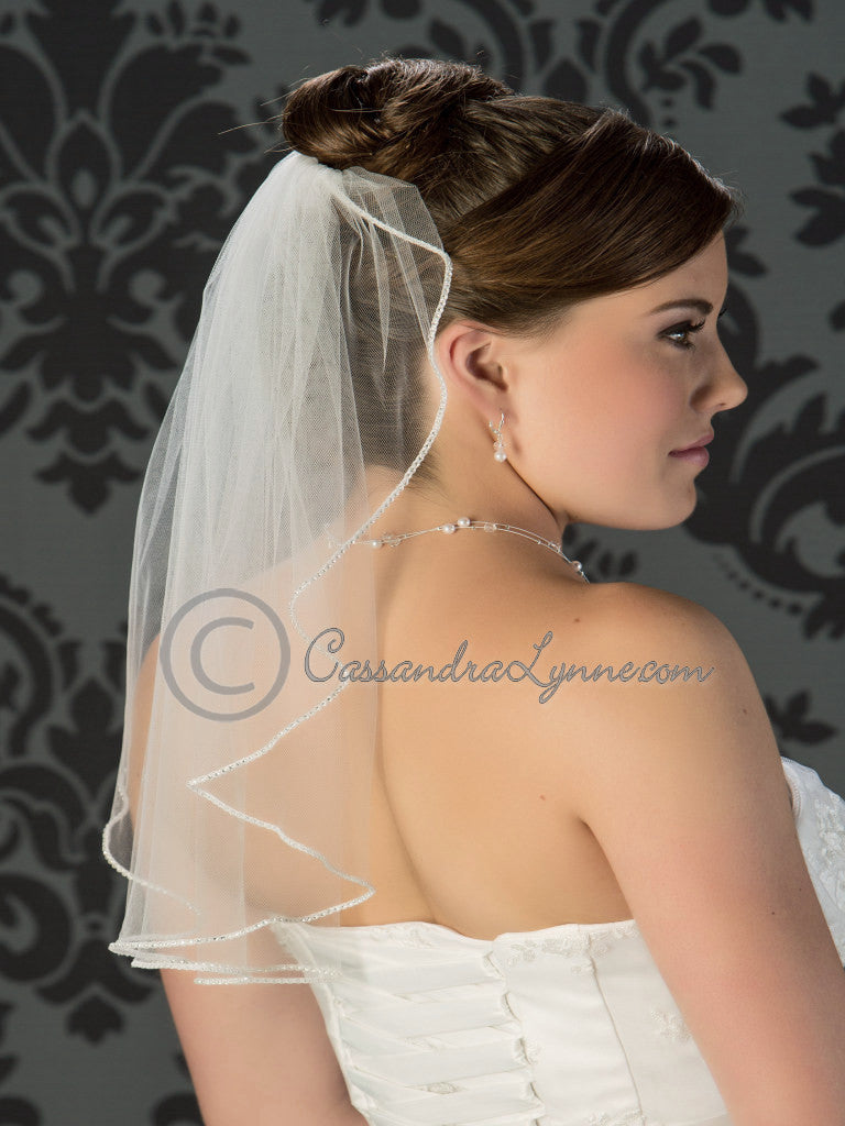 Shoulder length tiny rhinestone trim veil
