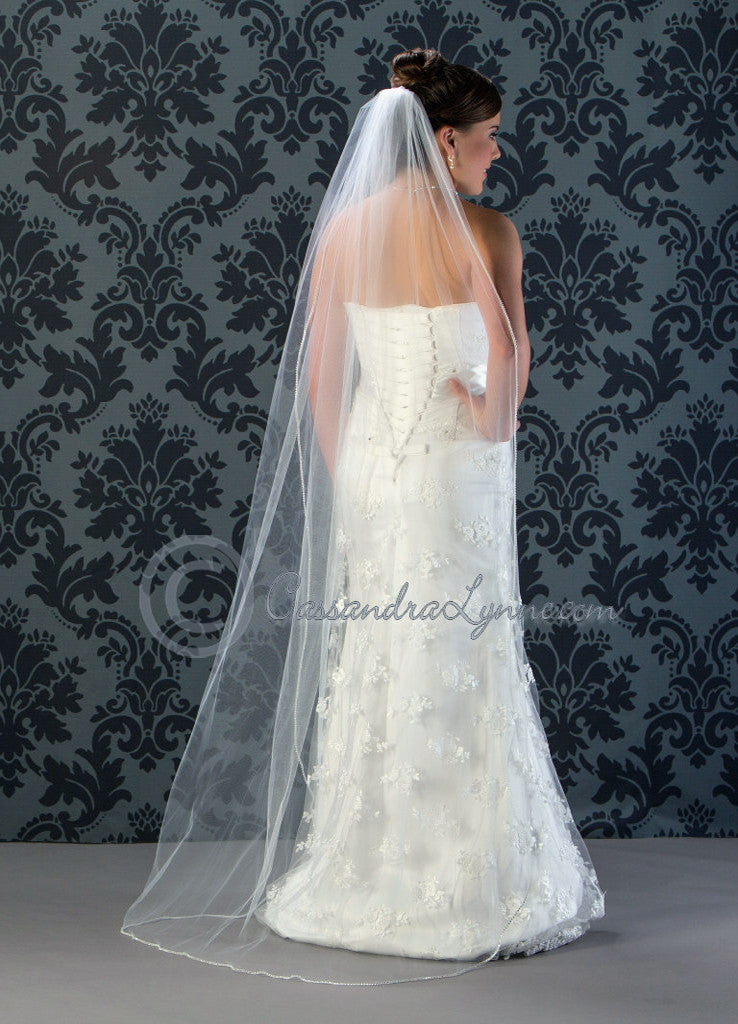 Floor length rhinestone trim veil