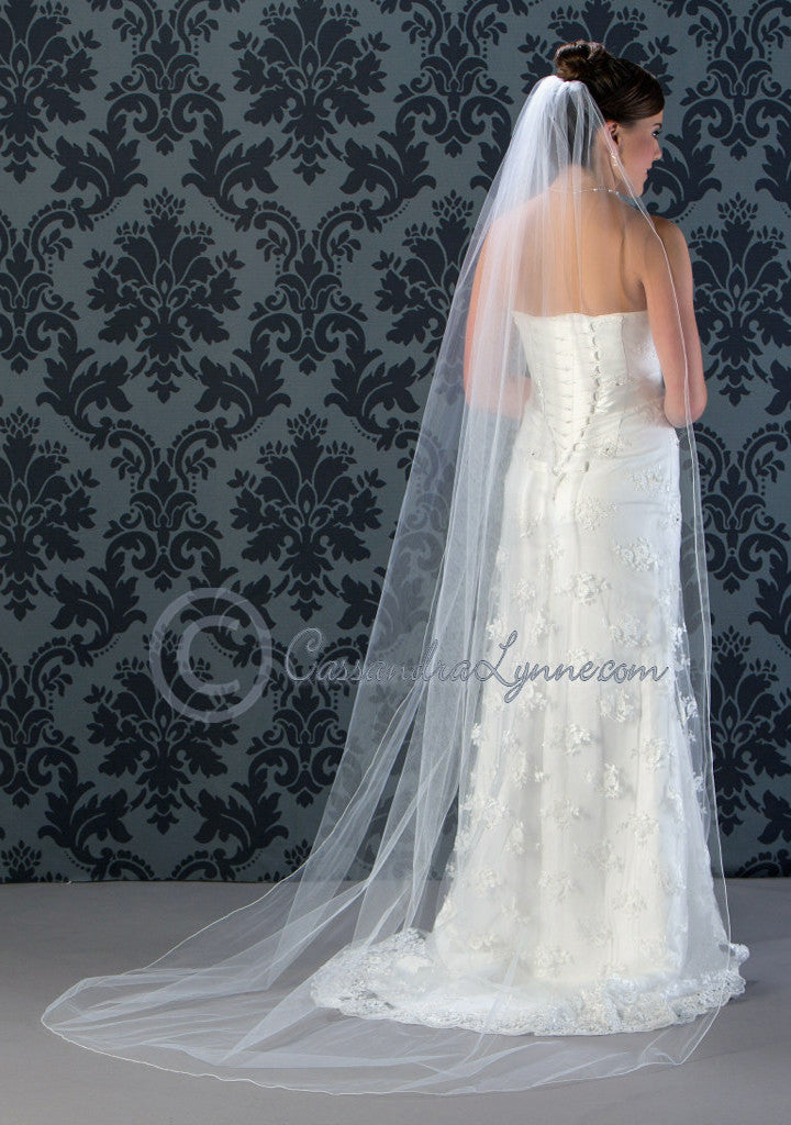 Chapel Wedding Veil with Corded Edge 90 Inches