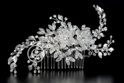 Wedding Hair Comb with Silver Leaves and Pave Flowers