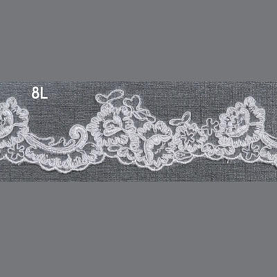 Fingertip Flower Lace Wedding Veil